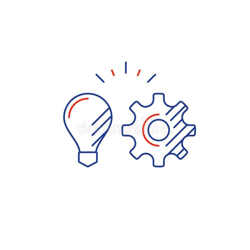 Концепция стратегии бизнеса, линия значок интеграции новой технологии иллюстрация вектора