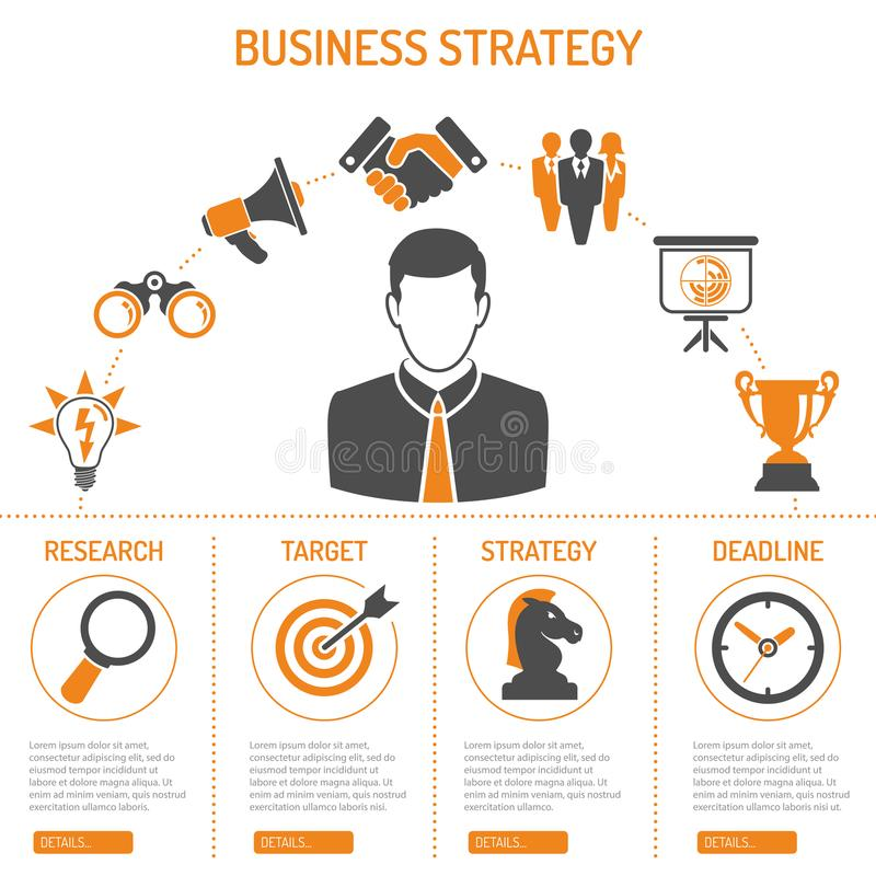 Концепция стратегии бизнеса отростчатая иллюстрация штока