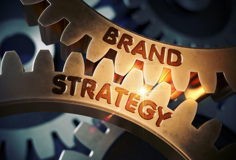 Концепция стратегии бренда cog зацепляет золотистое иллюстрация 3d стоковые фотографии rf