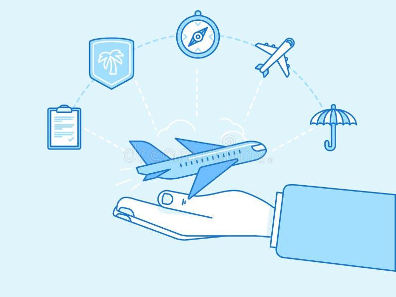 Концепция страхования перемещения - иллюстрация и infographics конструируют иллюстрация вектора