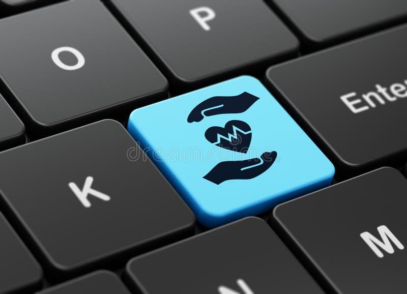 Концепция страхования: Сердце и ладонь на предпосылке клавиатуры компьютера иллюстрация штока