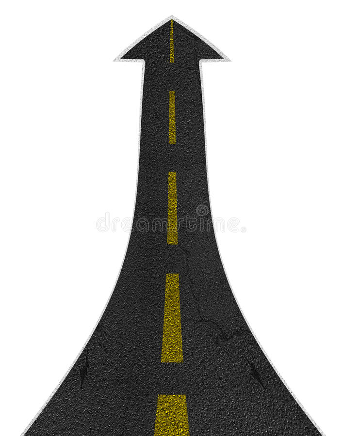 Концепция стрелки прямой дороги поворачивая восходящая иллюстрация вектора