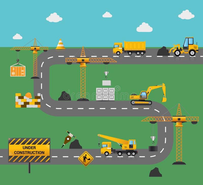 Концепция строительства дорог иллюстрация штока