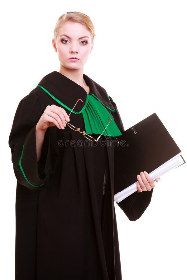 Концепция суда или правосудия Папка или досье файла attorneywith юриста молодой женщины изолированные на белой предпосылке стоковые фотографии rf