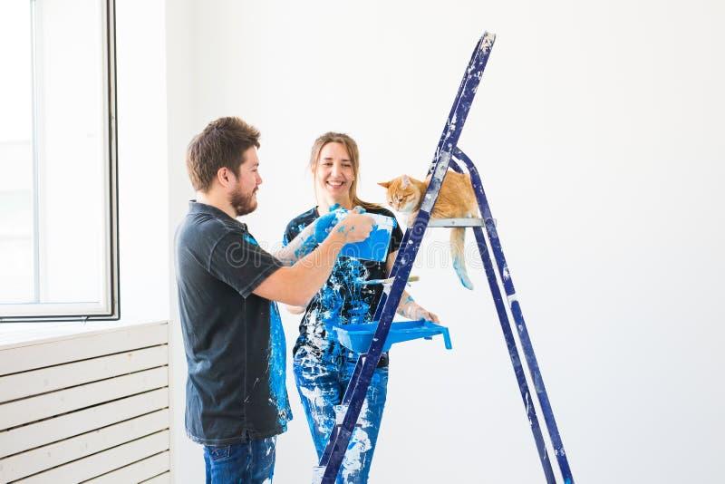 Концепция сыгранности и ремонта - молодая пара с котом делая реновацию в новой квартире стоковая фотография rf