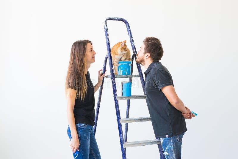 Концепция сыгранности и ремонта - молодая пара с котом делая реновацию в новой квартире стоковые фотографии rf