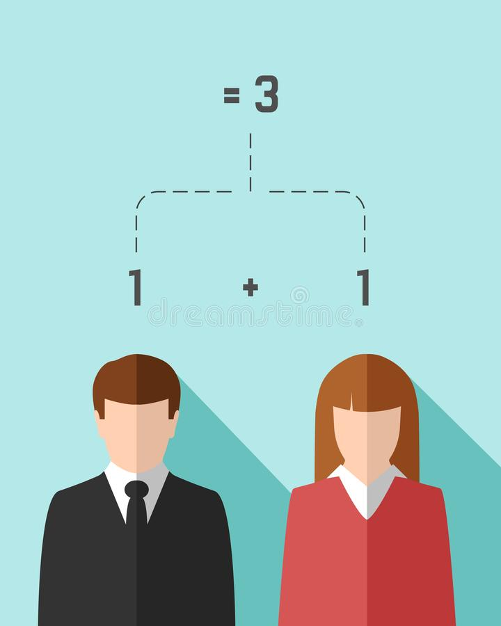 Концепция сыгранности и синергии с бизнесменом и коммерсанткой иллюстрация штока