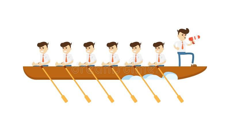 Концепция сыгранности с бизнесменами в значке шлюпки иллюстрация вектора