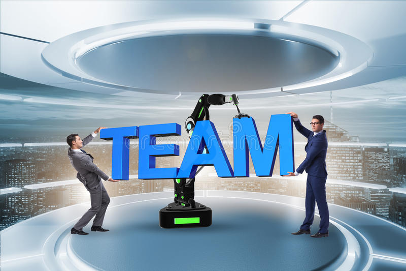 Концепция сыгранности с бизнесменом и робототехнической рукой стоковое изображение rf