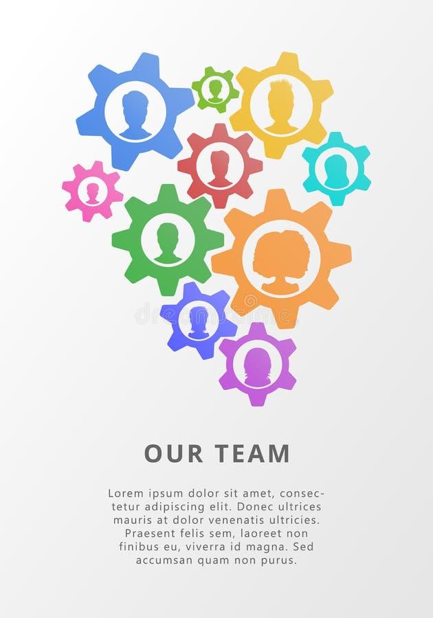 Концепция сыгранности с воплощениями значка шестерней и людей Плоская иллюстрация вектора для деловой встречи, managemt проекта бесплатная иллюстрация