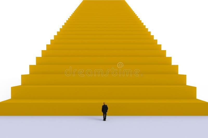 Концепция с бизнесменом, изображение успеха миниатюрного положения бизнесмена перед желтой лестницей на белой предпосылке стены стоковое фото rf