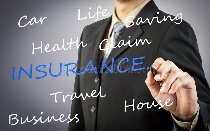 Концепция слова страхования чертежа руки бизнесмена стоковые изображения rf