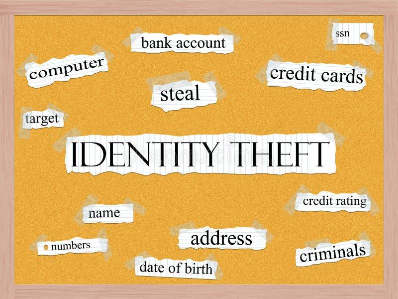 Концепция слова Corkboard кражи личных данных иллюстрация штока