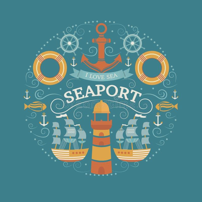 Концепция с символами моря иллюстрация штока