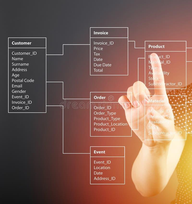 Концепция таблицы базы данных техническая, девушка указывая экран стоковая фотография rf
