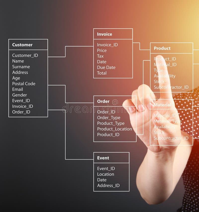 Концепция таблицы базы данных техническая, девушка указывая экран стоковые изображения rf