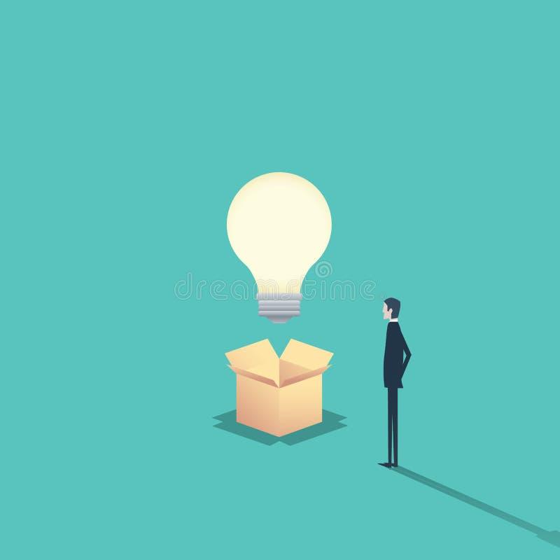 Концепция творческих способностей думает вне коробки с бизнесменом и лампочкой иллюстрация вектора