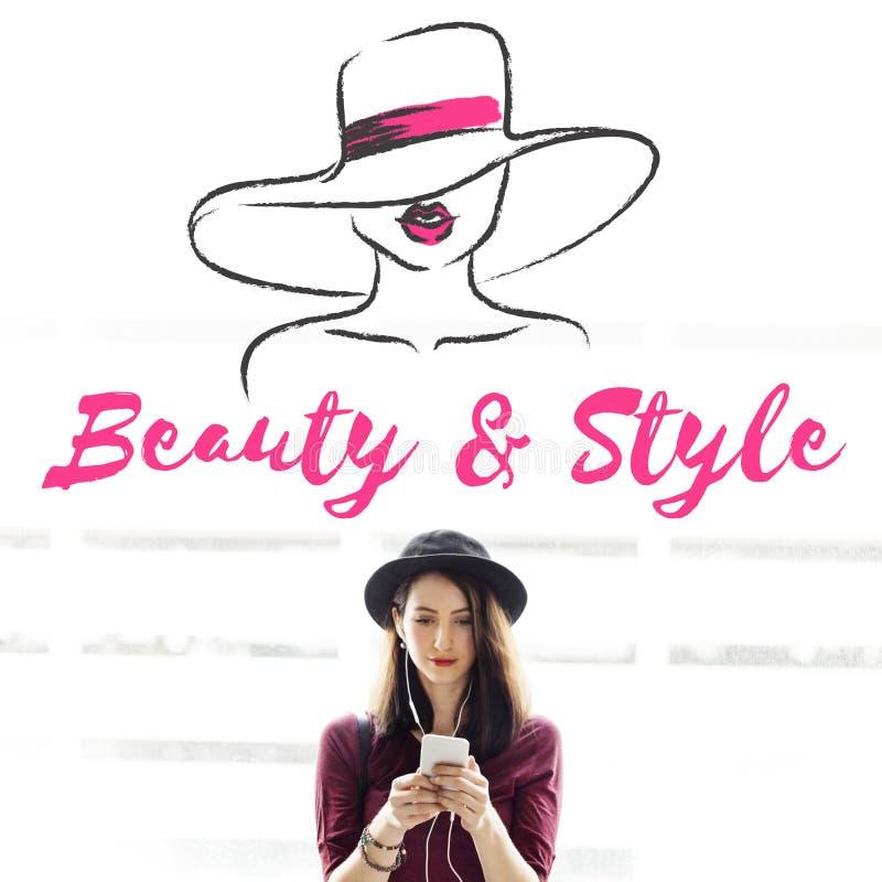 Концепция текста силуэта модели девушки стиля красоты стоковые фотографии rf