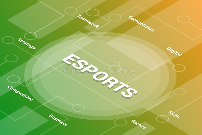 концепция текста слова 3d слов E-спорт равновеликая с некоторыми родственными соединенными текстом и точкой - вектор бесплатная иллюстрация