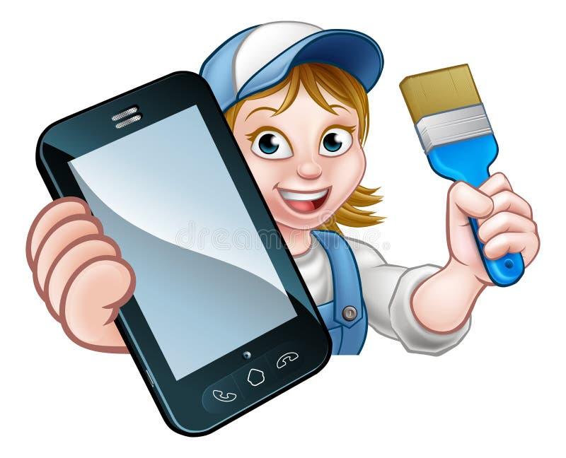 Концепция телефона разнорабочего оформителя художника иллюстрация вектора