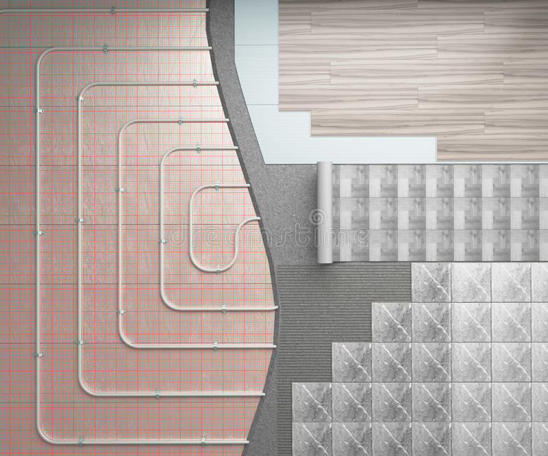 Концепция теплого пола система отопления положена на пол иллюстрация штока