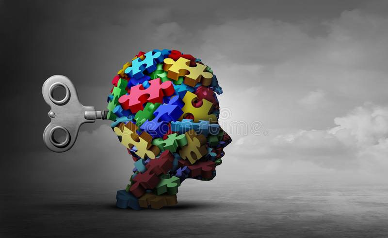 Концепция терапией аутизма иллюстрация штока