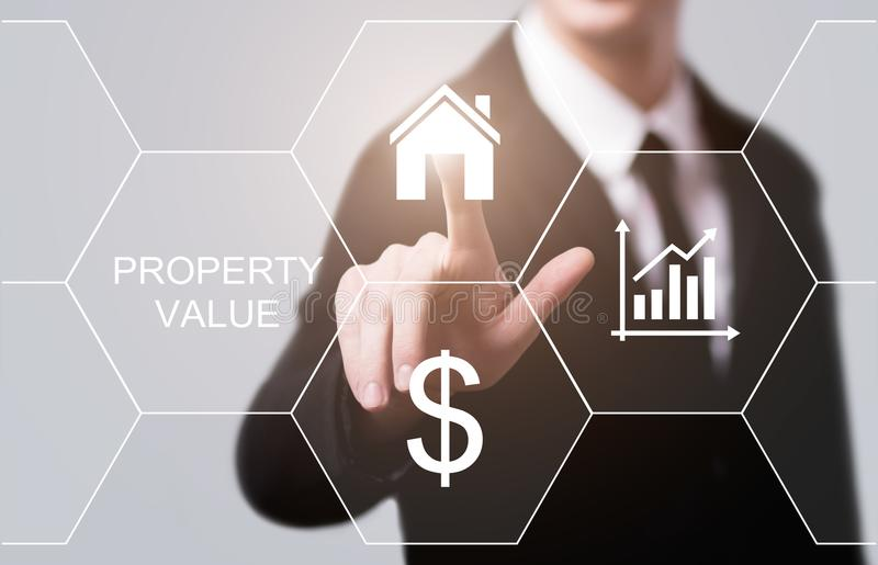 Концепция технологии дела интернета рынка недвижимости стоимости имущества стоковое фото rf