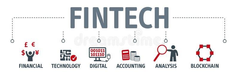 Концепция технологии интернета вклада Fintech знамени финансовая бесплатная иллюстрация