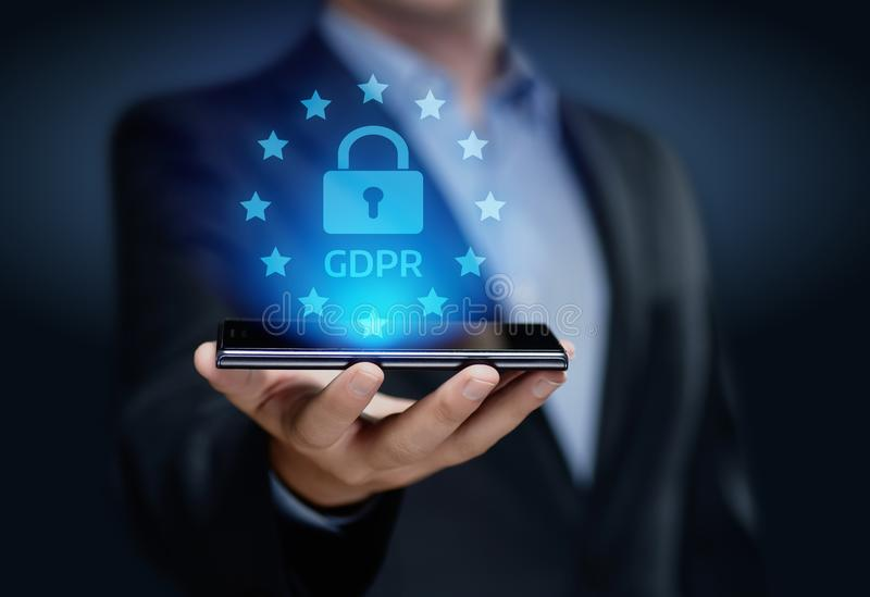 Концепция технологии интернета дела общей защиты данных GDPR регулированная стоковые изображения rf