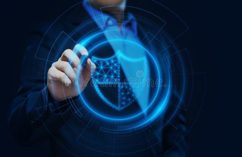 Концепция технологии интернета дела уединения безопасностью кибер защиты данных иллюстрация вектора
