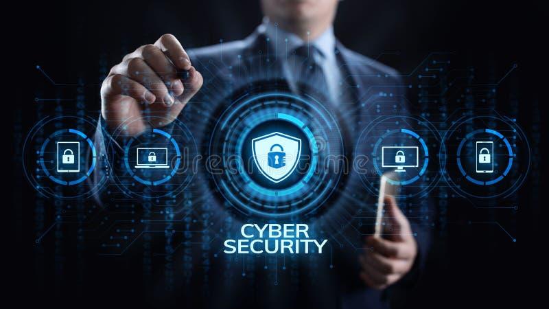 Концепция технологии интернета уединения данным по защиты данных безопасностью кибер иллюстрация вектора