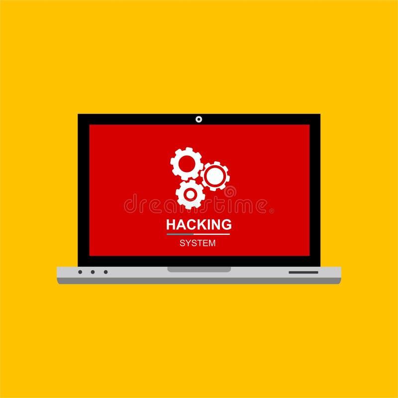 Концепция технологии компьютерной безопасности интернета хакера плоская Компьютер деятельности при хакера Бдительное уведомление  иллюстрация вектора