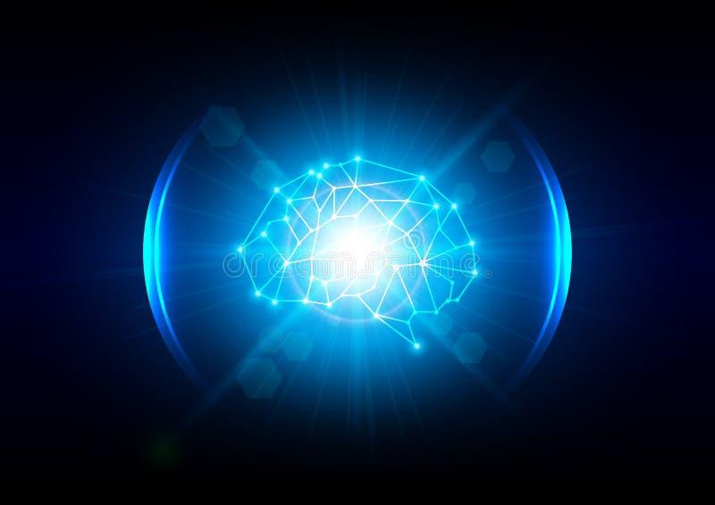 Концепция технологии мозга абстрактного освещения цифровая иллюстрация вектора