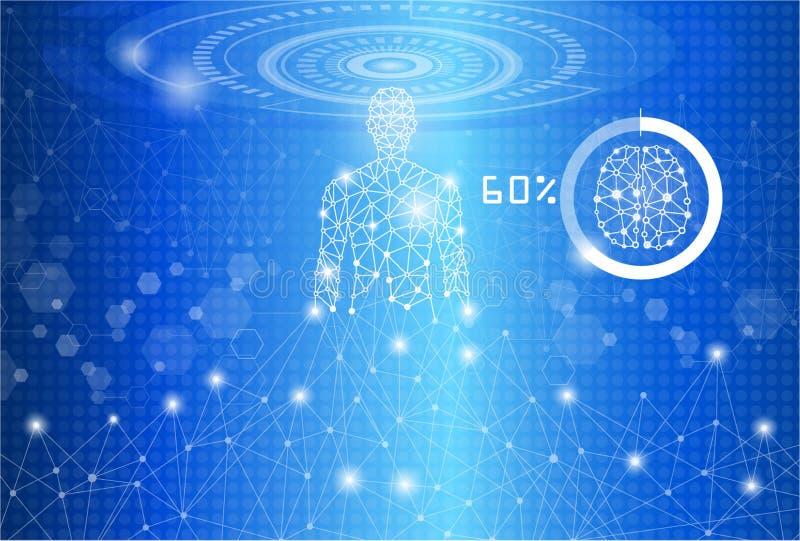 Концепция технологии, человек структуры тела иллюстрация штока