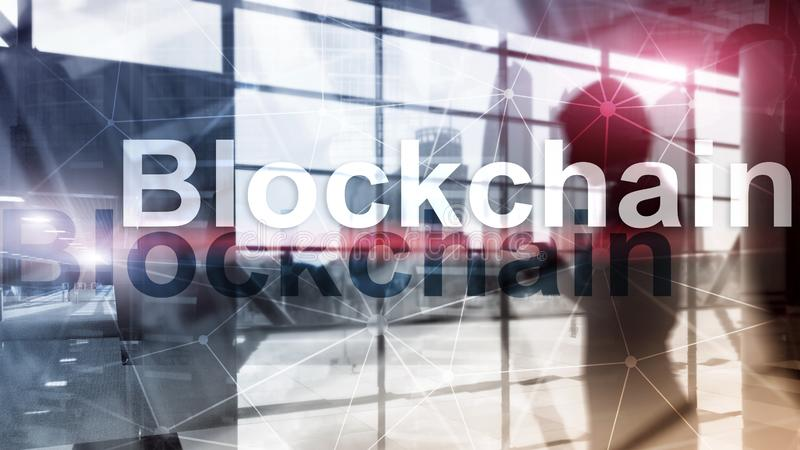 Концепция технологии Blockchain на предпосылке сервера Кодирование данных стоковое изображение rf