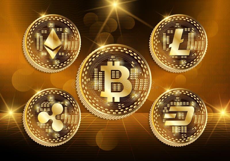 Концепция технологии Cryptocurrency, абстрактная предпосылка иллюстрация штока