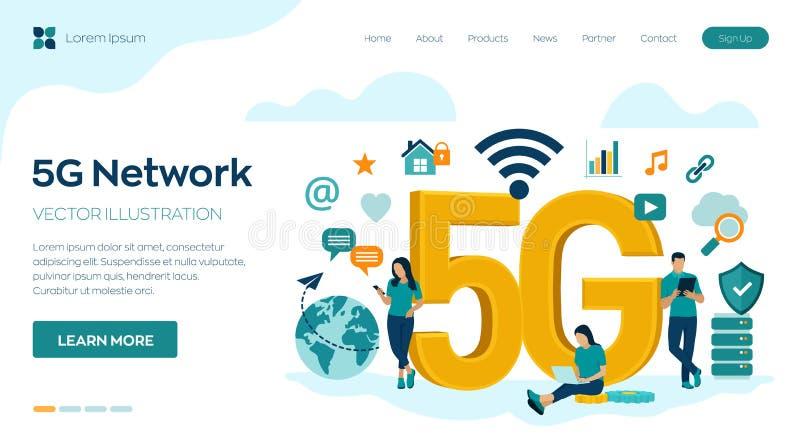Концепция технологии 5G Network Internet Mobile Беспроводные системы 5G и Интернет вещей высокоскоростной мобильный интернет Испо иллюстрация вектора