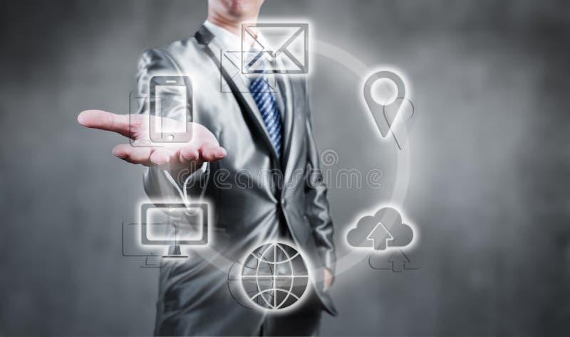 Концепция технологии интернета глобального бизнеса или социальной сети стоковое фото rf