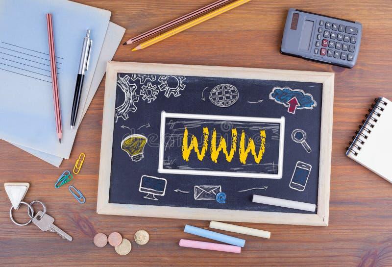 Концепция технологии соединения сети WWW онлайн Доска дальше стоковое изображение