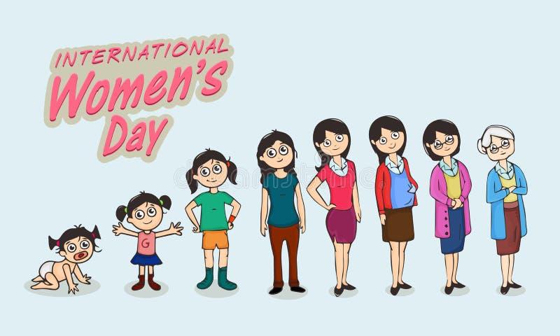 Концепция торжества Международного женского дня иллюстрация штока