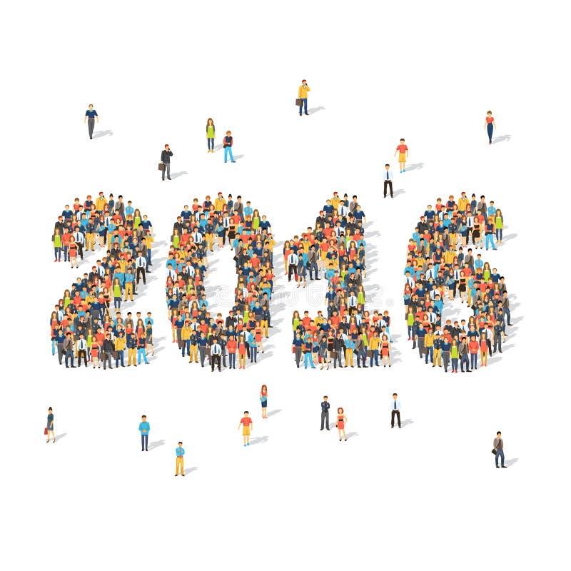 Концепция торжества Нового Года Люди формируя 2016 иллюстрация штока