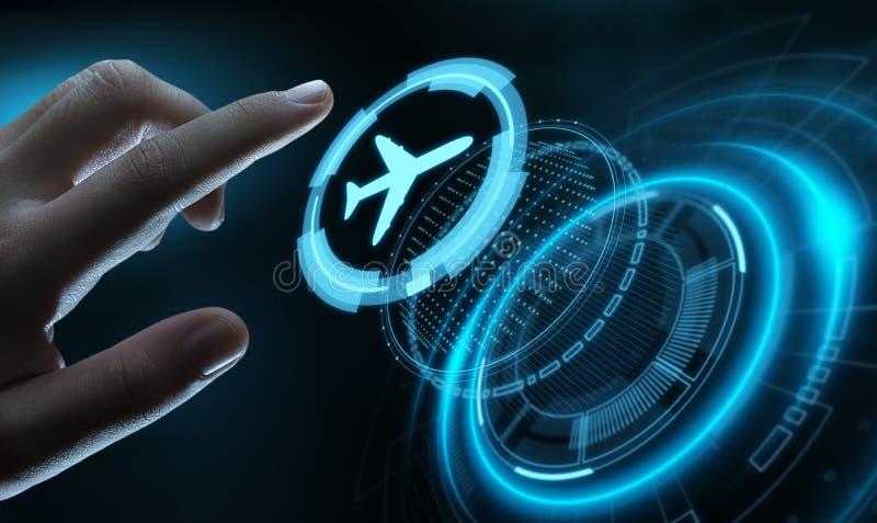 Концепция транспорта перемещения технологии дела с самолетами бесплатная иллюстрация