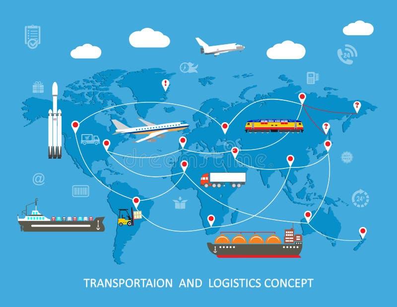 Концепция транспорта снабжения плоская глобальная иллюстрация штока