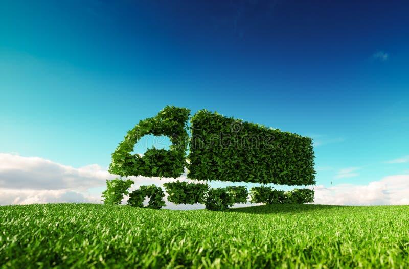 Концепция транспорта Eco дружелюбная перевод 3d зеленого зеленого цвета иллюстрация штока