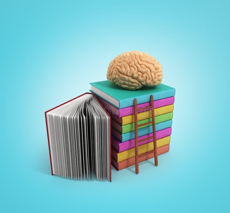 Концепция тренировки мозга лежит на куче книг и деревянного stai иллюстрация вектора