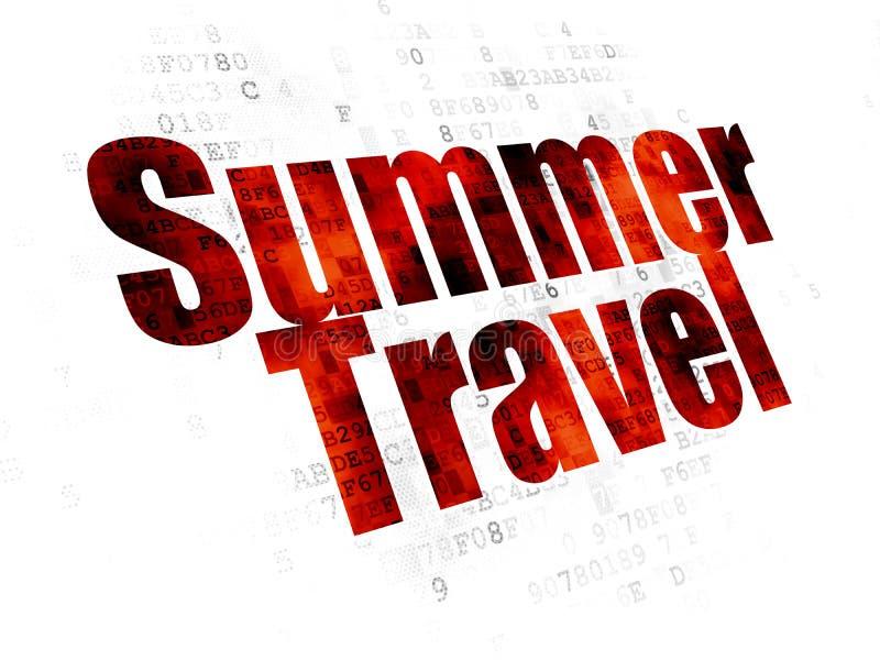 Концепция туризма: Перемещение лета на предпосылке цифров иллюстрация вектора