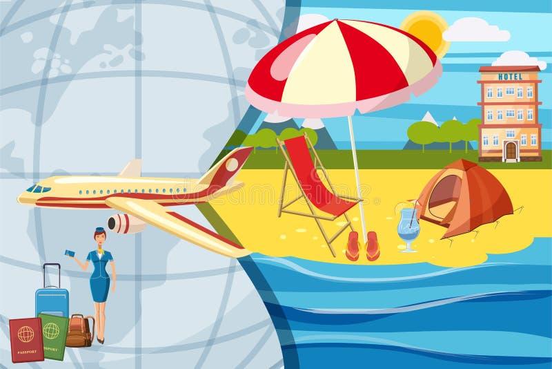 Концепция туризма перемещения, стиль шаржа иллюстрация вектора