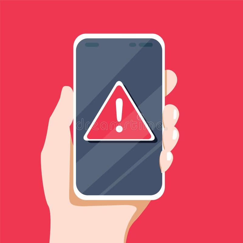 Концепция уведомления malware или ошибка в мобильном телефоне Предупреждение воздушной тревоги красная данных по спама, нестабиль иллюстрация вектора