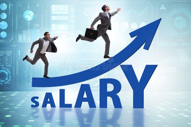 Концепция увеличивая зарплаты с бизнесменом стоковая фотография rf