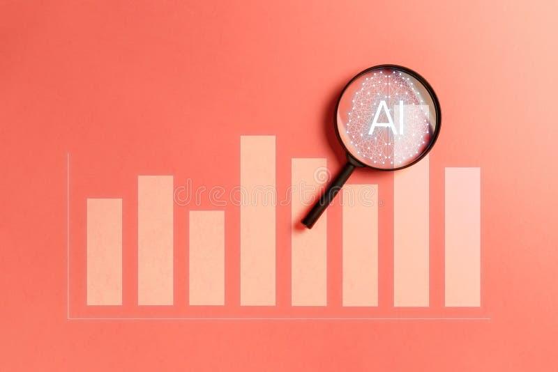Концепция увеличила аналитика Аналитик дела и финансовая концепция технологии стоковые изображения